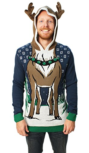 Ugly Christmas Sweater Men's Hooded Reindeer Sweater-Small Blue Onyx
