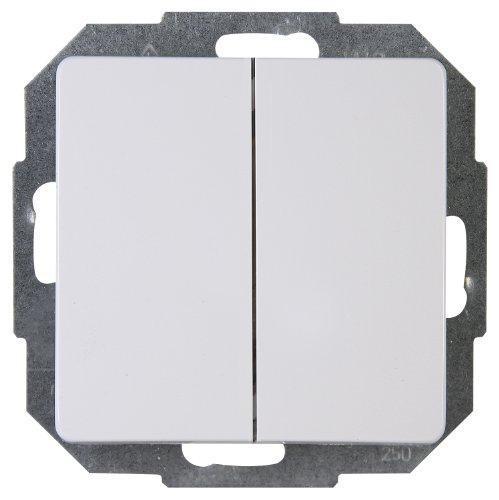 Kopp Paris Wechsel-Wechselschalter mit 2 Wippen, Lichtschalter für den Haushalt, 250 V (10A), IP20, Unterputz, Lichtschalter für 2 Leuchtmittel, einfache Wandmontage, arktis-weiß, 650302080