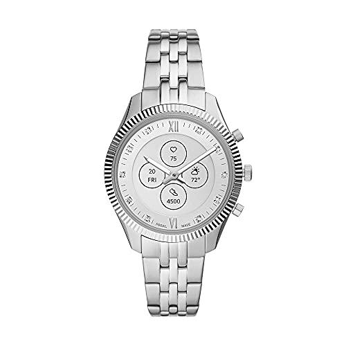 Fossil Smartwatch Híbrido para Mujer HR Monroe de Acero Inoxidable con Brazalete de Acero Inoxidable, FTW7041