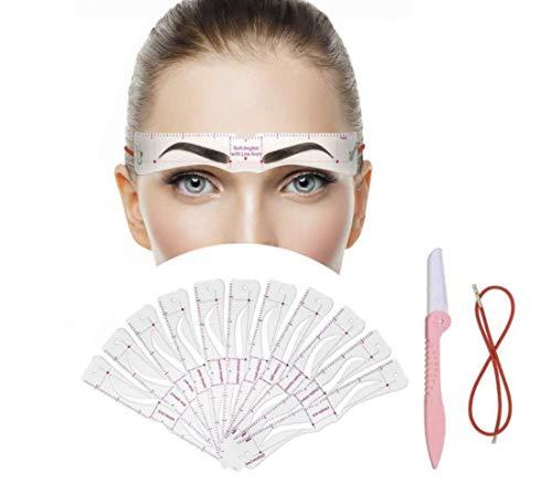 Pochoir Sourcils 24 Styles Sourcils Carte,Outil pour Débutant Maquillage Pochoirs à Sourcils Kit,Réutilisable Pochoir Sourcils