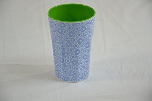 rice Becher Melamine Two Tone Latte Cup Marrakesh Print MAX Temp. 90C (Blue & White innen Apple Green)