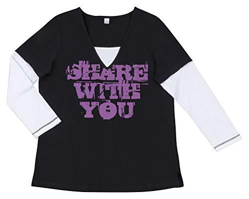 AdoniaMode Damen Statement-Shirt Doppeloptik V-Ausschnitt Langarm 2-in-1 Schwarz/Weiß Gr.44/46