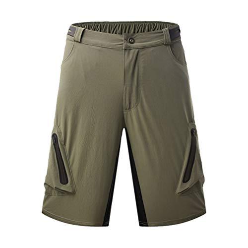 BESPORTBLE Herren Wandershorts Stretch Schnell Trockene Cargo Shorts Radhose für Camping Reisen Sport Fitness Outdoor Dunkelgrün