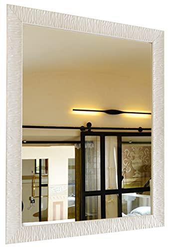 GaviaStore – Julie - Specchio moderno da parete disponibile in 12 formati e colori - grande xxl arred casa art home decor soggiorno modern sala paret camera bagno ingresso (Bianco, 90x70 cm)