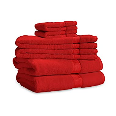 eLuxurySupply 900 Gram 3-Piece Long Staple Cotton Towel Set - Heavy Weight & Absorbent by ExceptionalSheets, Red