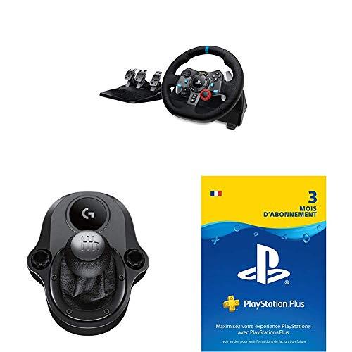 Logitech Volant de course Driving Force G29 pour PS4, PS3 et PC + Pédales + Levier de vitesse Noir + PlayStation Plus : Compte français