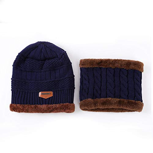Borlai 2 Stks/Set Heren Dames Hoed Sjaal Set Winter Gebreide Beanie Cap Sjaal Set