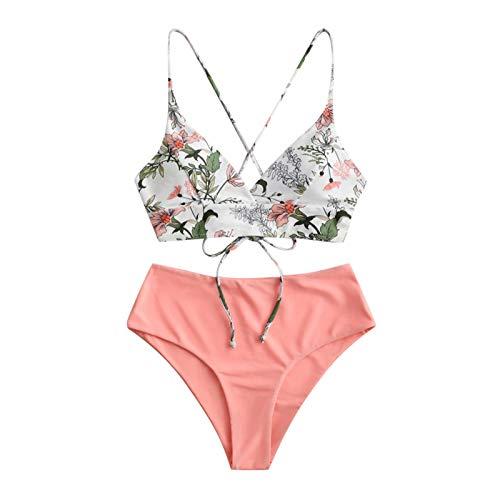 YANFANG Bikini de Traje de baño de Talla Grande Holgado con Estampado Floral de Dos Piezas para Mujer, M,Pink