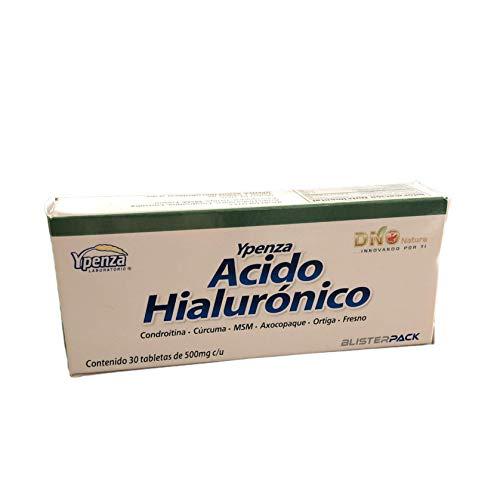 Acido Hialurónico 30 Tabletas de 500mg c/u, Blister Pack | Condroitina Cúrcuma, MSM, Ortiga, etc. Para articulaciones, Piel, espalda, DNO Natura