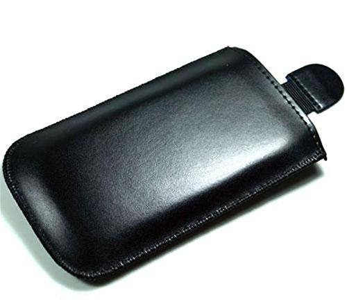 andyhandyshop Echt Ledertasche für Samsung Galaxy A11 A71 A42 Smartphone 5,3-5,8 Zoll Leder Tasche Case Etui Wallet mit Rausziehband schwarz