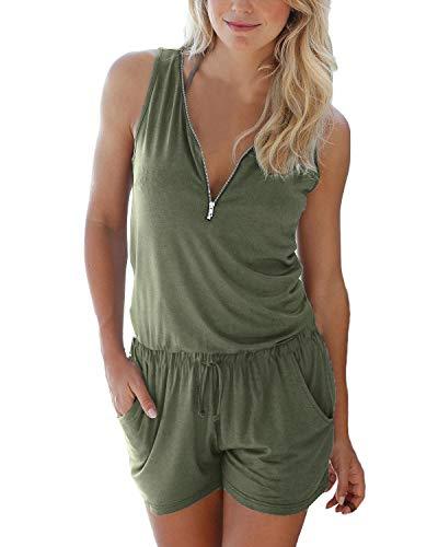 Auxo Damen Ärmellos V-Ausschnitt Sommer Strand Party Jumpsuit Overalls Kurz Hosen Grün Etikettgröße M