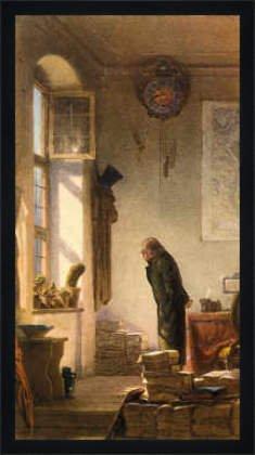 kunst für alle Bild mit Rahmen: Carl Spitzweg, Der Kaktusliebhaber, 37 x 70 - Holz Fortuna L: Schwarz matt