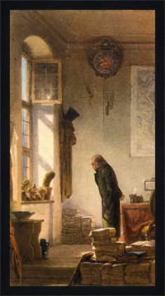 Bild mit Rahmen: Carl Spitzweg, 'Der Kaktusliebhaber', 37 x 70 - Holz Fortuna L: Schwarz matt