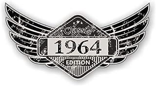 sticker licker Distressed Aged Geflügelte Klassisches Edition Wappen Year Vom 1964 Vintage Retro Cafe Racer Design Externe Vinyl Auto Motorrad Aufkleber 125x67mm
