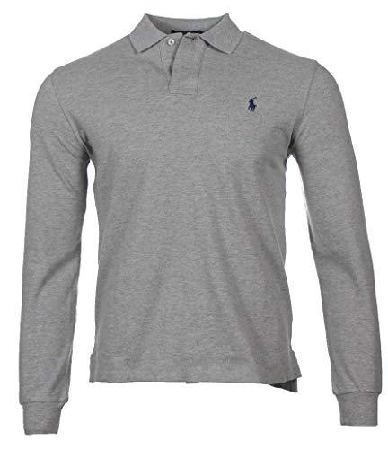 Ralph Lauren Langarm Polo - Custom Slim Fit - Grau (Grey Heather, XXL)