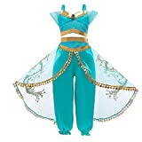 AOGD Fille Princesse Jasmin Costume Aladdin Le Film Enfant Vêtements Cosplay Halloween Noël Rave Party Mascarade Vert Top + Pantalon / Jupe Robe de soirée Danse du Ventre Déguisement Costume