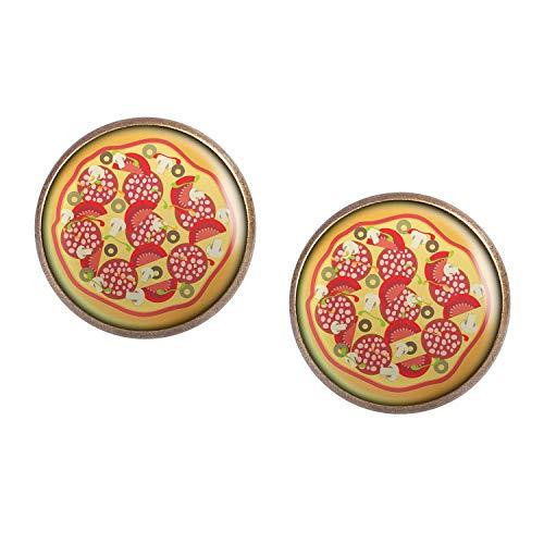 Studs par con motivo Pizza de Italia Pizzeria bronce 16mm