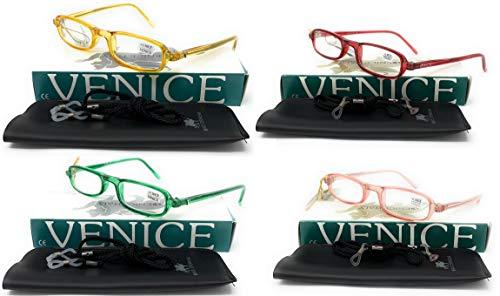 Pack de 4 unidades de Gafas de lectura UNISEX, presbicia, vista cansada, Unisex Diseño en Colores'555' - Dioptrías: 1 a 3,5 (Pack 4u - Rojo, Rosa, Amarillo y Verde, 2,00)