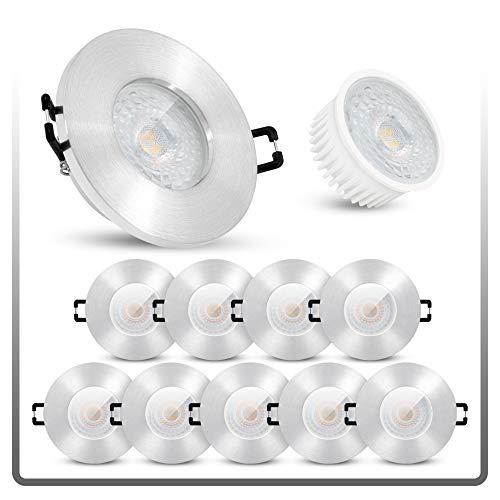 linovum ISASO Einbauleuchte LED 10er Set für Bad & Dusche extra flach - LED 5W neutralweiß 230V Deckenspot IP65 gebürstet rund