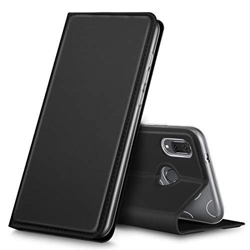Verco Handyhülle für Y7 2019, Premium Handy Flip Cover für Huawei Y7 (2019) Hülle [integr. Magnet] Book Hülle PU Leder Tasche, Schwarz