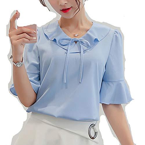 Blusa feminina curta, pequena, elegante, gola V, moda coreana, tops de trabalho, Blue-2, X-Large
