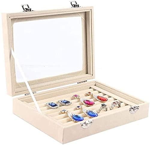 SSHA Joyero Organizadores de joyería de Vidrio para joyería de Anillo, escaparate de Show de oído Recuerdo joyero Decorativo Organizador de Joyas (Color : B)
