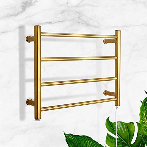 XSGDMN Elektrischer Handtuchwärmer, 304 Edelstahl Badheizkörper Heizkörper Wand- Elektrische Handtuchhalter mit 4 Bars, für Badezimmer, Gold,Plugin