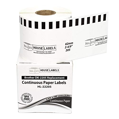 """Generic Continuous Paper Labels Compatible w/Brother DK2205 (2-4/9"""" x 100'; 62mm30.48m) BPA Free (6 Rolls)"""