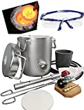 USA 0-28LBS(12.8KGS) Gas/ Propane Metal Melting Furnace Kit, Stainless Steel 304, Up to 2700°F/1425°C,CRUCIBLE,Goggles,TONGS Kiln,Melt Gold,Silver,Copper, Alu., smelting Furnace,Jewelry Casting Tool