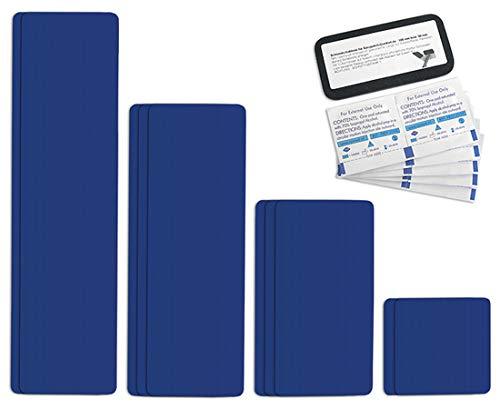 Selbstklebende Planenreparatur Tapes | 10 teilig | Easy Patch Comfort 100mm | Für Zelte, Planen uvm. | Ultramarineblau RAL 5002