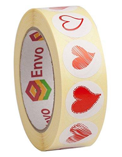 1,000 Rund Rot Herz Aufkleber 250 Stück 4 Herz Designs in 1 Rollen - Rot Herz Etiketten 1000 Stück (Style 2)