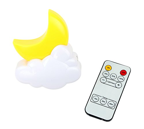 Moon Plug-in Remote Control Led Night Light Decorative Nite – Adjustable Bright Bedside Dim Baby Nursery Nightlights – Unique Wall Lamp with Timer Best for Home and Kids Children's Adults Bedroom