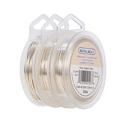 BENECREAT 3 Rollos 0.6mm/0.8mm/1mm Alambre de Cobre Plateado Cable Metal Alambre de Joyería para Manualidad Calibre 22/20/18
