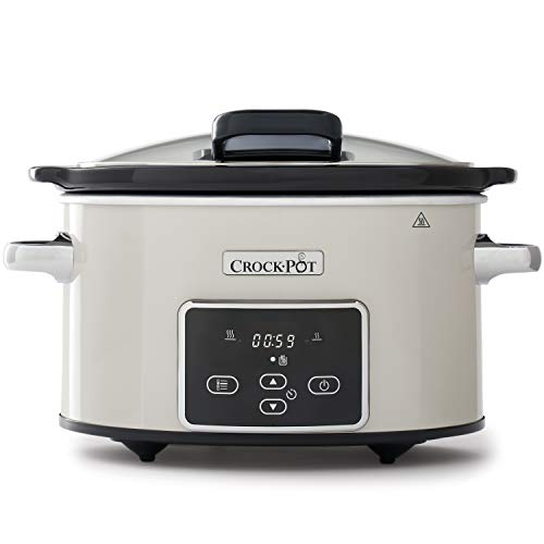 Crock-Pot Electric Slow Cooker with Hinged Lid   Programmable Digital Display   3.5L (2-3 People)   Keep Warm Function   Mushroom & Chrome [CSC060]