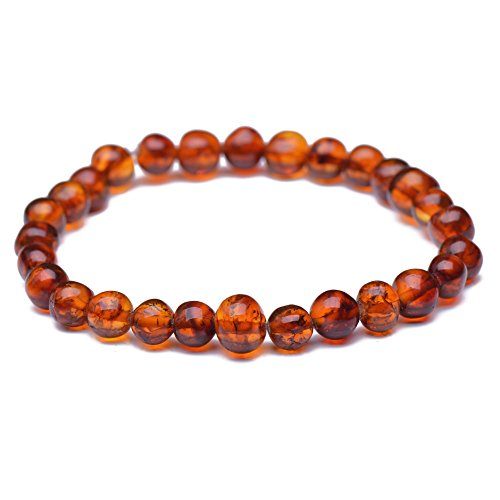 Baltic Amber Bracelet for Adult - Genuine Baltic Amber - Cognac Color - Elastic - Sizes from 18cm to 22cm (20cm)
