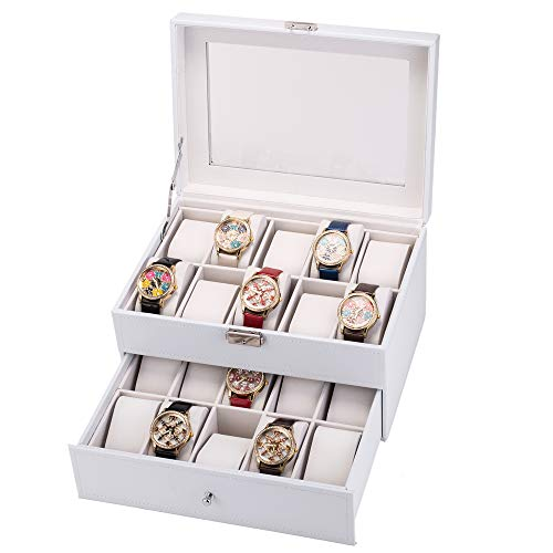 QCSJ 20 Compartments Dual Layers Watch Box Lockable Watch Organizer Jewelry Display Case with Glass Top for Watches, Hairpin, Cuff Links, Brooches, White