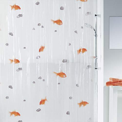 Spirella Anti-Schimmel Duschvorhang Goldfisch Anti-Bakteriell, waschbar, wasserdicht Vinyl 180x200cm Weiß