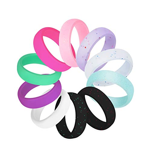WANGYIYI 10pcs/set silicone wedding ring outdoor sports Hypoallergenic Flexible Glitter Silicone Rings 2.5mm Silicone Finger Ring For Women (Size : Size 5)