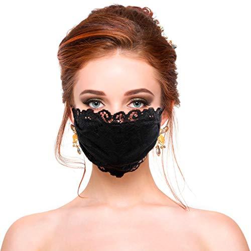 Lulupi Mundschutz Multifunktionstuch Spitze Atmungsaktiv Maske Waschbare Schwarz Stoffmaske Stickerei Blumen Mund-Nasen Bedeckung Spitzenmaske Elegant Frauen Bandana Halstuch Schals