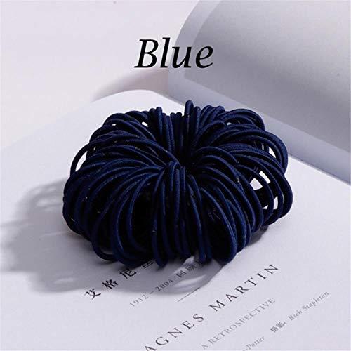 Nieuwe 100 stks/partij meisjes snoep kleuren nylon 3 cm elastiekjes kinderen veilig elastische haarbanden paardenstaart houder kids haaraccessoires, blauw