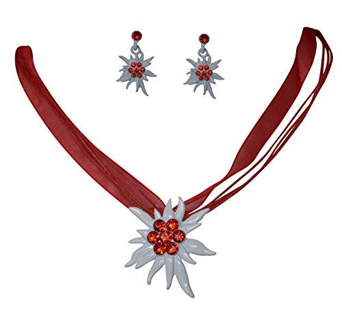 Edles Trachtenschmuck Dirndl Kristall Edelweiss Colllier Set - Kette & Ohrhänger (Light Siam rot)