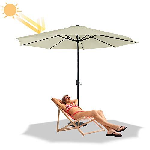 Froadp Ø3.5m Sombrillas de Playa Octogonal de Poliéster Solar Protección con Ø38mm Mango Parasol para Balcón Terraza Piscina Patio(Beige)