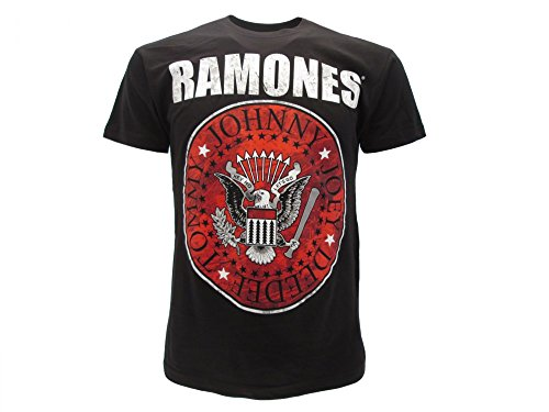 Ramones T-Shirt Originale Logo Sfondo Rosso Rock Prodotto Ufficiale Maglia Maglietta (L)