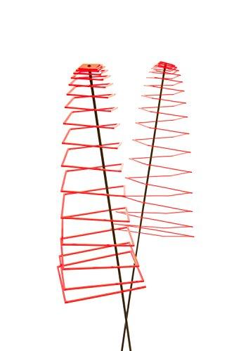 Garten Bronder e.K. 10141.22 Sunshine Piro – Soleil Spirale – Square Lot de 2 Diamètre 20 cm, Longueur env. 70 cm, basculant Tige 1,25 m et système d'emboîtement Elvira, fabriqué en Allemagne, Rouge