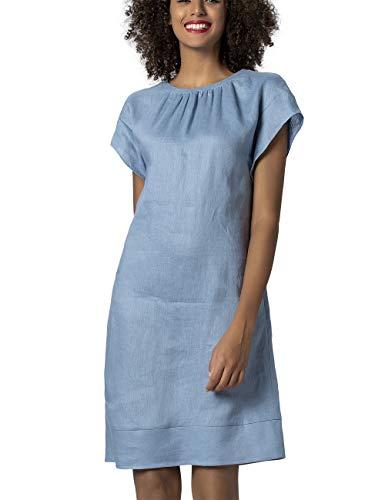 APART Damen Leinenkleid gerade geschnitten, hellblau, 40