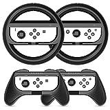 HEYSTOP Volantes y Grip Compatible con Nintendo Switch y Switch OLED, Switch Grip Racing Wheel Volante, Mandos Grip para Mario Kart Juegos/Mandos Nintendo Switch Deluxe 4 Piezas (Negro)