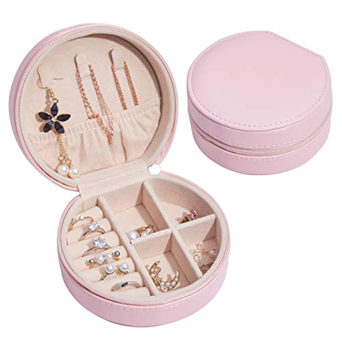 YOMEGO Travel Jewelry Organizer Portable Jewelry Storage Box with Faux Leather, Good for Necklace Holder, Earrings, Rings Display Cases - Great Gift for Girls and Women