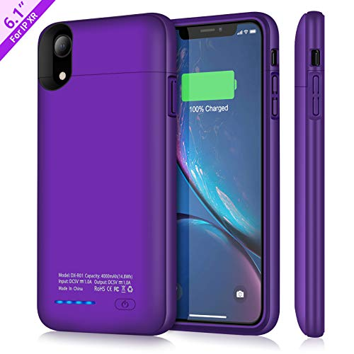Battery Case for iPhone XR, TAYUZH 4000mAh Ultra-Slim Protective Portable Charging Case Magnetic Battery Case Rechargeable Charger Case Compatible for iPhone XR Phone Holder Function (Purple)