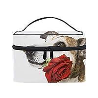 化粧ポーチ 仕分け収納 犬マズルローズフラワーギフト防水 軽量 大容量 通勤 出張 旅行用