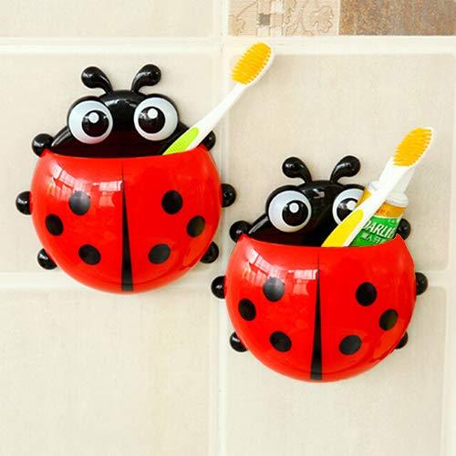 floatofly Cute Cartoon Ladybug Kids Wall Suction Cup Mount Cepillo De Dientes Soporte para Cepillo De Dientes Succión Mariquita Pasta De Dientes Sucker De Pared Juegos De Baño Rojo